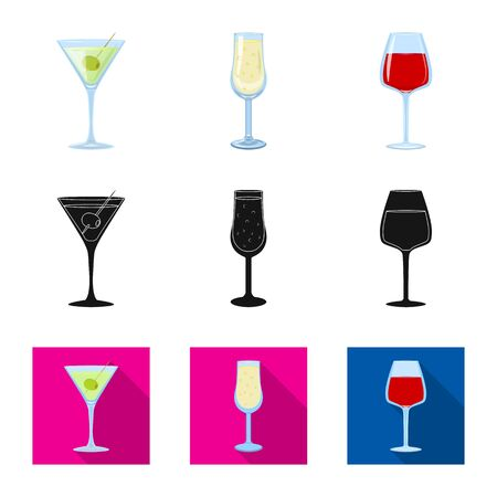 Vector illustration of liquor and restaurant logo. Collection of liquor and ingredient stock symbol for web.
