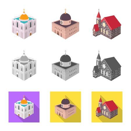Isolated object of temple and historic logo. Collection of temple and faith vector icon for stock. Stock Illustratie