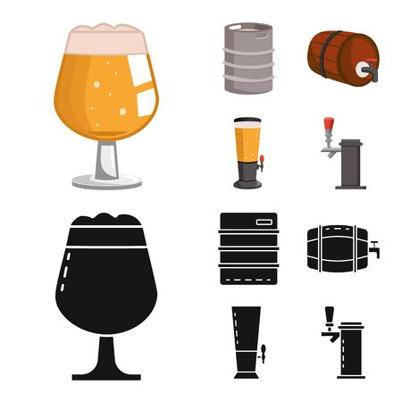 Vector illustration of brewery and brewing symbol. Collection of brewery and ingredient stock symbol for web.