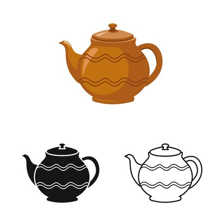 Vector design of teapot and clean logo. Web element of teapot and ceramic stock vector illustration. Stock Illustratie