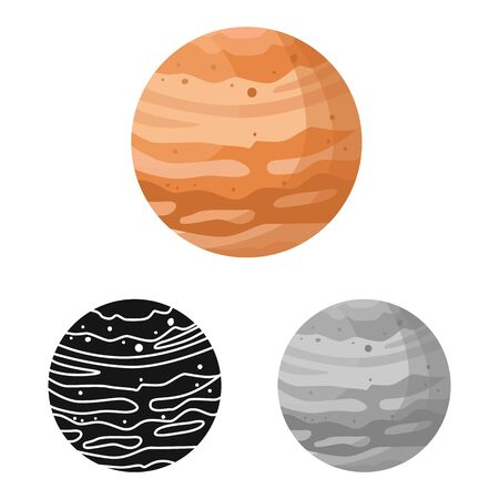 Vector design of jupiter and nasa logo. Graphic of jupiter and star stock symbol for web.