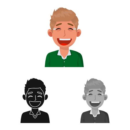 Isolated object of guy and laugh logo. Set of guy and emotion stock vector illustration.
