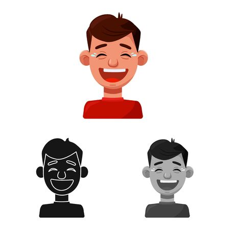 Isolated object of guy and laugh symbol. Collection of guy and emotion vector icon for stock.