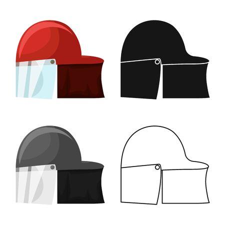Vector design of helmet and fireman icon. Set of helmet and hat vector icon for stock.