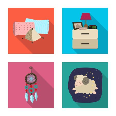 Isolated object of dreams and night icon. Set of dreams and bedroom stock symbol for web.