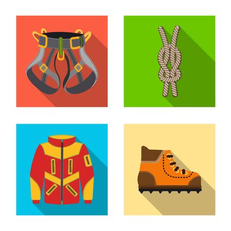 Vector illustration of mountaineering and peak symbol. Collection of mountaineering and camp stock symbol for web. 일러스트