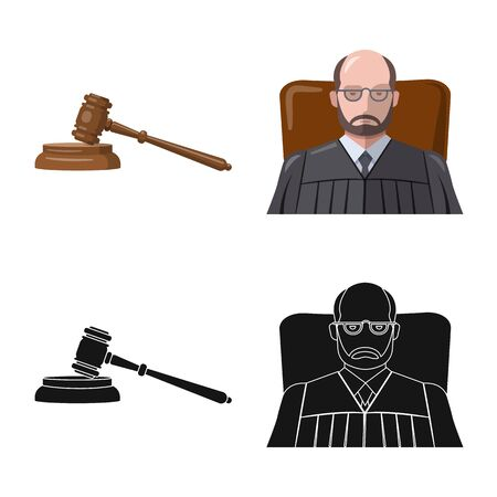 Isolated object of law and lawyer symbol. Set of law and justice vector icon for stock.