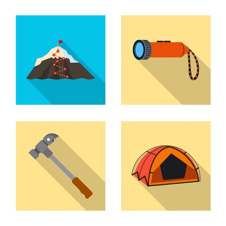 Isolated object of mountaineering and peak  . Set of mountaineering and camp vector icon for stock. Stock Illustratie