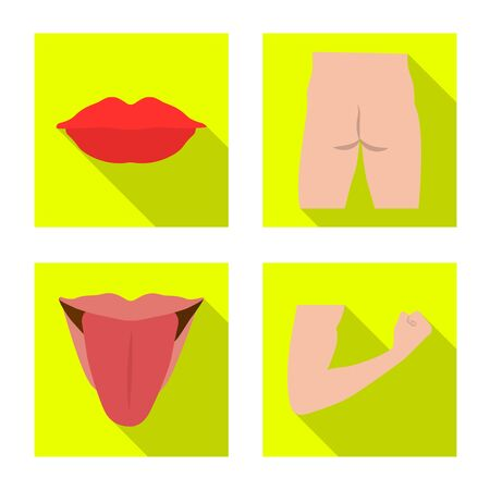 Vector design of human and part sign. Set of human and woman vector icon for stock.  イラスト・ベクター素材