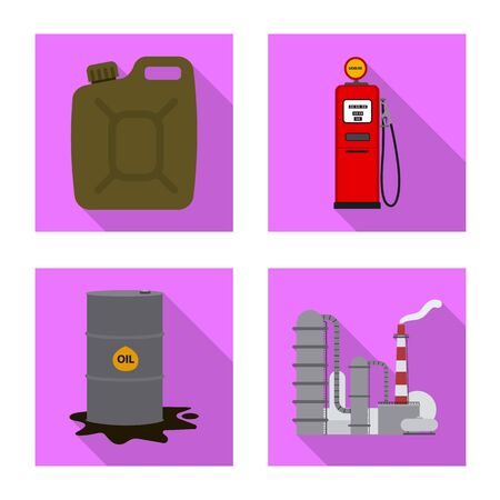 Vector illustration of oil and gas icon. Collection of oil and petrol vector icon for stock. Illustration