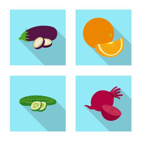 Vector design of vegetable and fruit sign. Set of vegetable and vegetarian vector icon for stock. Ilustracja