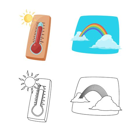 Isolated object of weather and climate  . Collection of weather and cloud stock vector illustration.