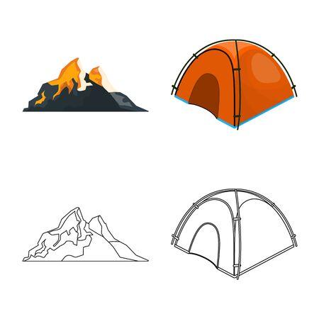 Isolated object of mountaineering and peak icon. Collection of mountaineering and camp stock vector illustration. Çizim