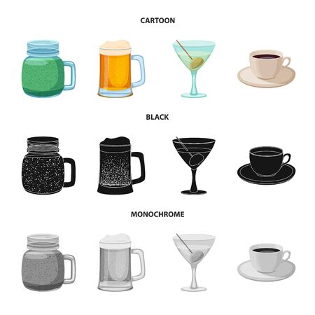 Vector design of drink and bar sign. Set of drink and party stock symbol for web.