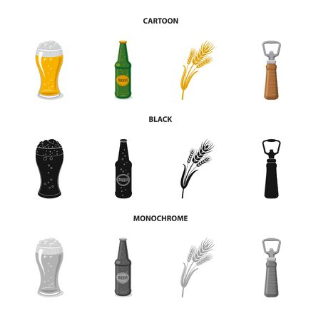 Isolated object of pub and bar symbol. Set of pub and interior stock vector illustration.