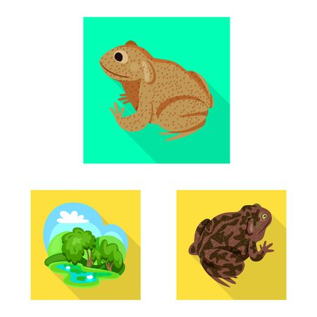 Vector illustration of wildlife and bog logo. Collection of wildlife and reptile stock symbol for web.