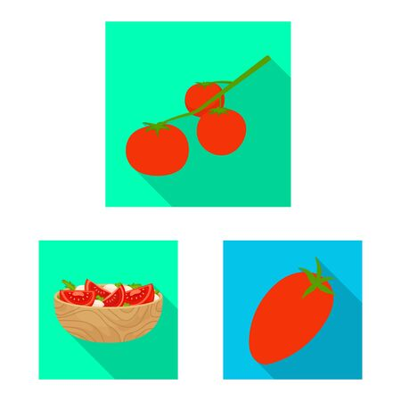 Vector illustration of vegetable and delicious sign. Collection of vegetable and natural vector icon for stock. Vettoriali