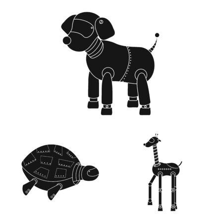Vector design of toy and toy logo. Set of toy and mechanism vector icon for stock.