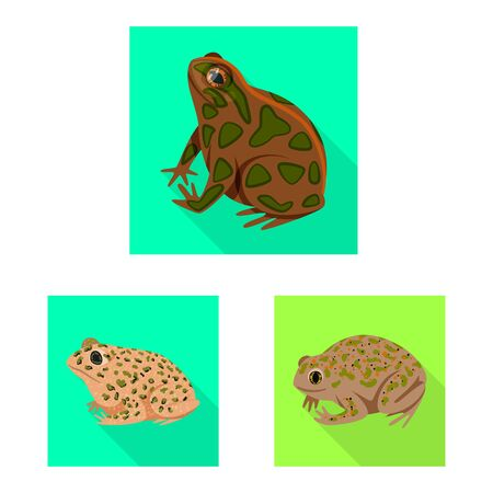 Isolated object of wildlife and bog symbol. Set of wildlife and reptile stock vector illustration. Çizim