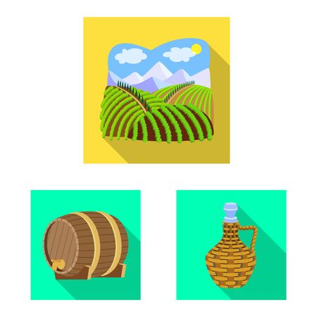 Isolated object of farm and vineyard symbol. Set of farm and product stock vector illustration. Çizim