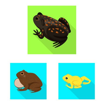 Vector illustration of wildlife and bog icon. Set of wildlife and reptile vector icon for stock. Çizim