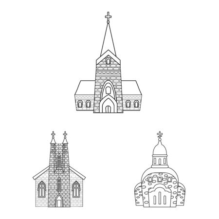 Vector illustration of architecture and faith logo. Set of architecture and temple stock symbol for web. Ilustração