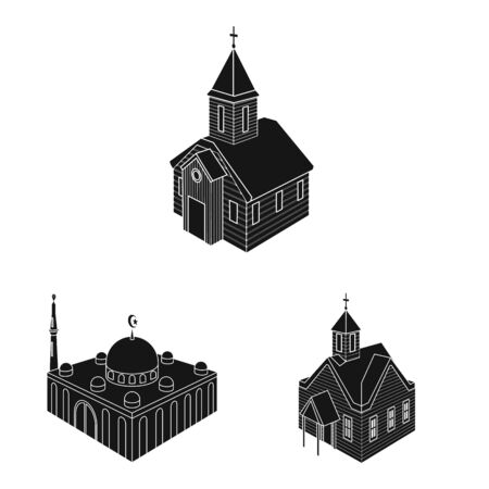 Isolated object of parish and faith symbol. Set of parish and building stock symbol for web.