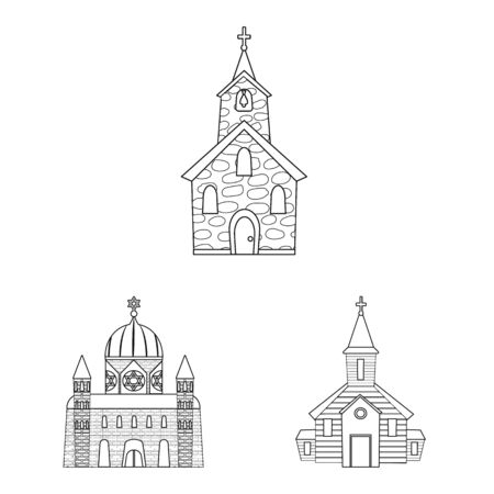 Vector design of architecture and faith symbol. Collection of architecture and temple stock symbol for web.