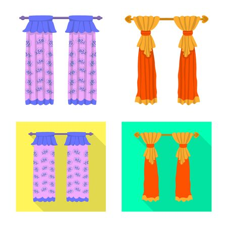 Vector design of curtains and drapes logo. Collection of curtains and blinds stock symbol for web. Ilustracja