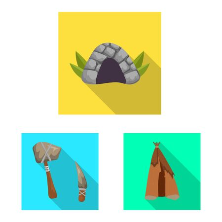 Isolated object of evolution and neolithic sign. Set of evolution and primeval stock symbol for web.  イラスト・ベクター素材