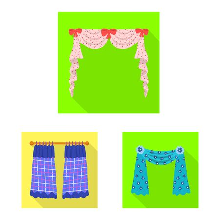 Vector illustration of curtains and drapes logo. Collection of curtains and blinds stock symbol for web.