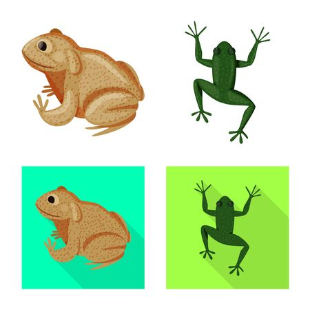 Vector design of wildlife and bog sign. Set of wildlife and reptile vector icon for stock.