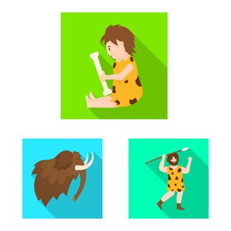 Isolated object of evolution and neolithic sign. Collection of evolution and primeval vector icon for stock.  イラスト・ベクター素材