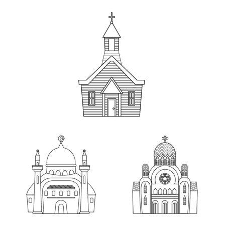 Vector illustration of architecture and faith sign. Collection of architecture and temple vector icon for stock.