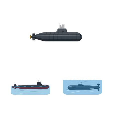 Isolated object of boat and navy logo. Set of boat and deep stock symbol for web. Ilustracja