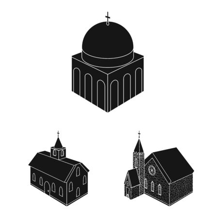 Vector illustration of parish and faith symbol. Set of parish and building stock vector illustration. 向量圖像