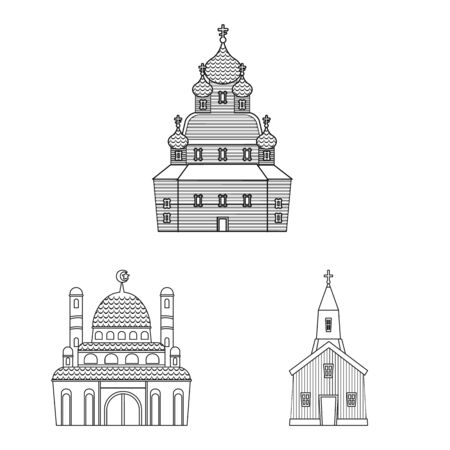 Vector design of architecture and faith sign. Collection of architecture and temple vector icon for stock.