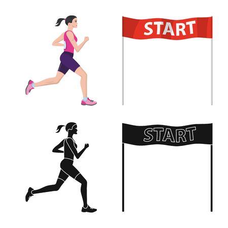Vector illustration of sport and winner symbol. Collection of sport and fitness vector icon for stock.
