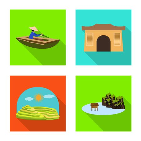 Vector illustration of travel and country icon. Collection of travel and landmark stock symbol for web.  イラスト・ベクター素材