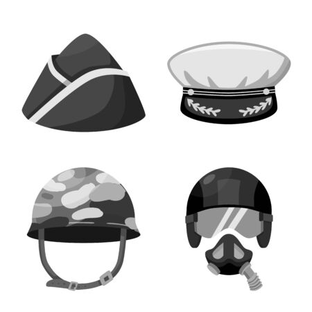 Vector illustration of headgear and modern icon. Collection of headgear and clothing stock vector illustration.  イラスト・ベクター素材