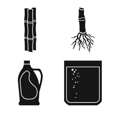 Isolated object of industry and sugarcane sign. Set of industry and natural vector icon for stock.
