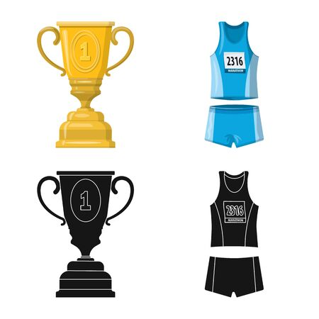 Isolated object of sport and winner sign. Collection of sport and fitness stock symbol for web. Illustration