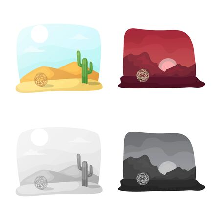 Vector design of landscape and nature icon. Set of landscape and environment stock vector illustration. 向量圖像