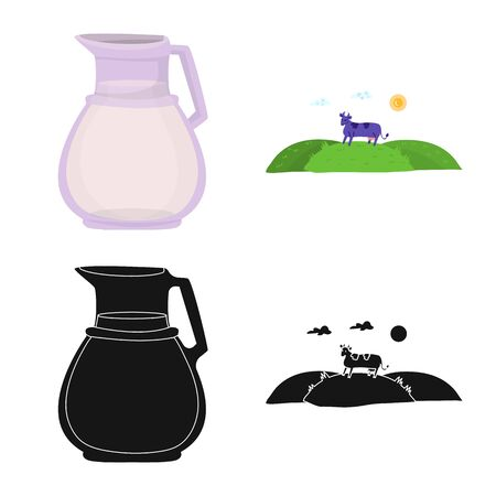Isolated object of creamy and product logo. Set of creamy and farm stock vector illustration. Ilustracja