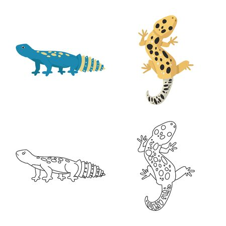 Vector design of tail and fauna symbol. Set of tail and environment vector icon for stock.