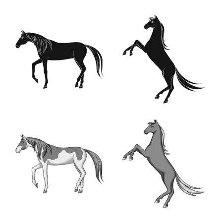 Isolated object of breed and equestrian logo. Collection of breed and mare vector icon for stock.
