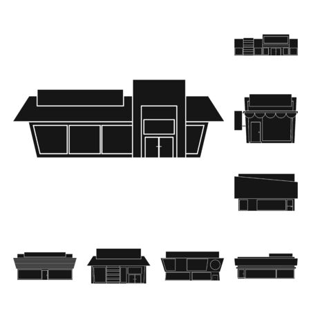 Vector design of architecture and cityscape symbol. Set of architecture and supermarket stock symbol for web. Illustration