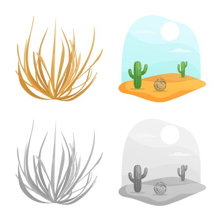 Vector illustration of landscape and nature icon. Set of landscape and environment vector icon for stock.