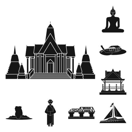 Isolated object of country and national sign. Collection of country and travel vector icon for stock.