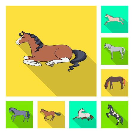 Vector design of breed and equestrian sign. Collection of breed and mare stock vector illustration. Reklamní fotografie - 132229180